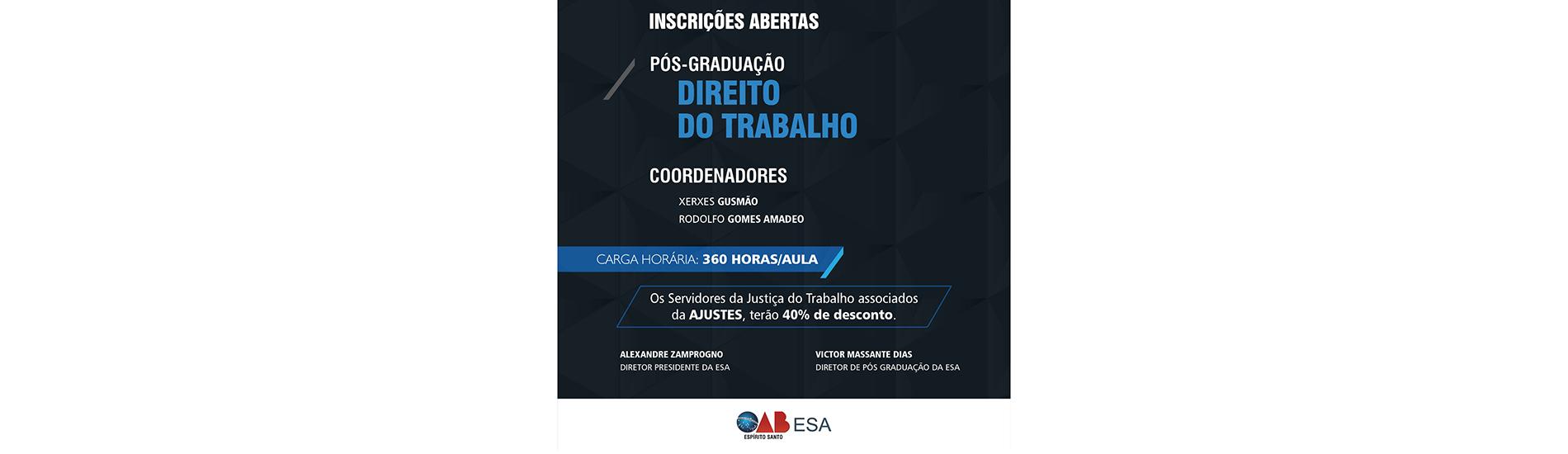 Pós-graduação promovida por escola da OAB-ES conta com 40% para associados à Ajustes